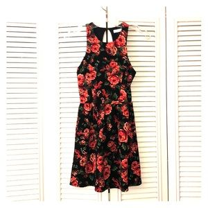 Size small, black floral dress.